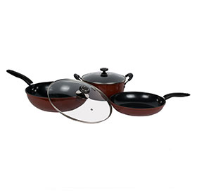 Non-stick cookware pot sets with cera